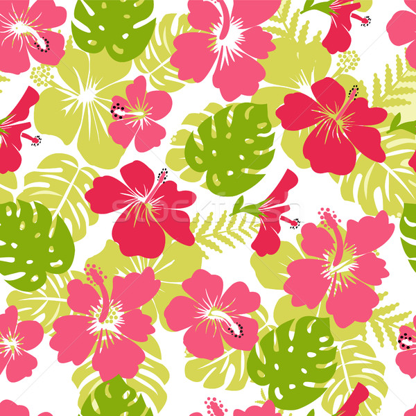 Pattern of tropical leaves and flowers hibiscus flower  Stock photo © Margolana