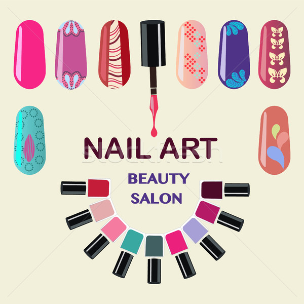Stock photo: Nails art beauty salon background