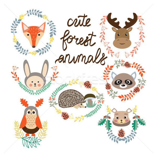 set of cute forest elements animals and plants Stock photo © Margolana