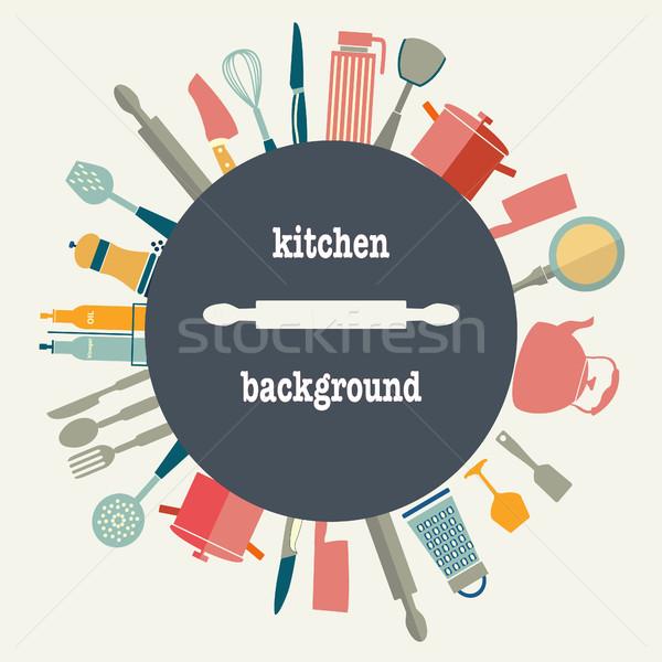 Mutfak gereçleri vektör ayarlamak model dizayn Stok fotoğraf © Margolana