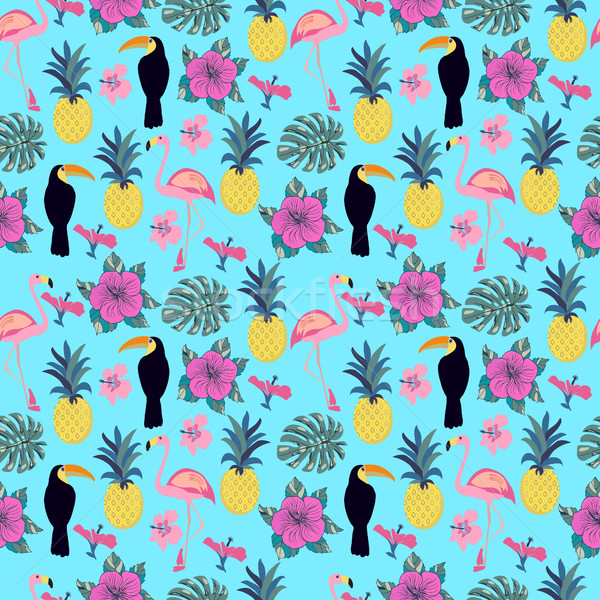 pattern with flamingo, pineapple, toucan and monstera leaves. Stock photo © Margolana