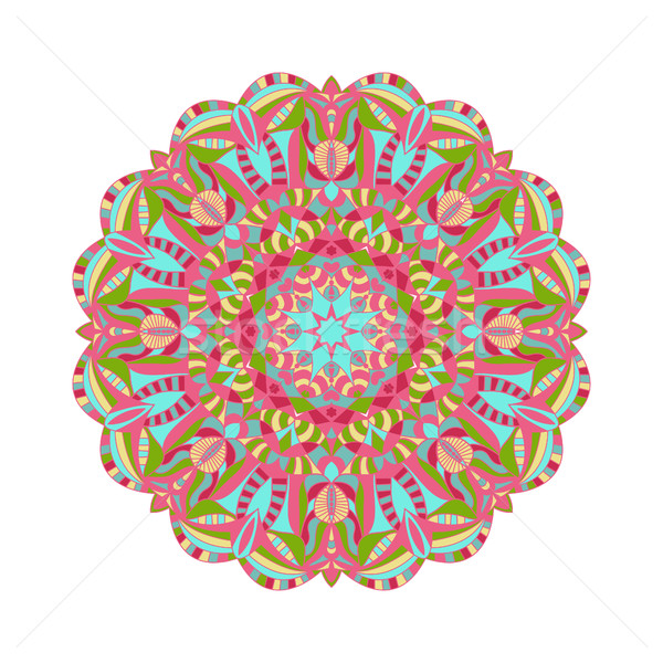 Circular floral ornament in east style. Round Pattern Mandala fo Stock photo © Margolana