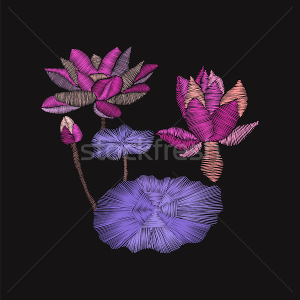 embroidery floral pattern with lotus and leaves Stock photo © Margolana