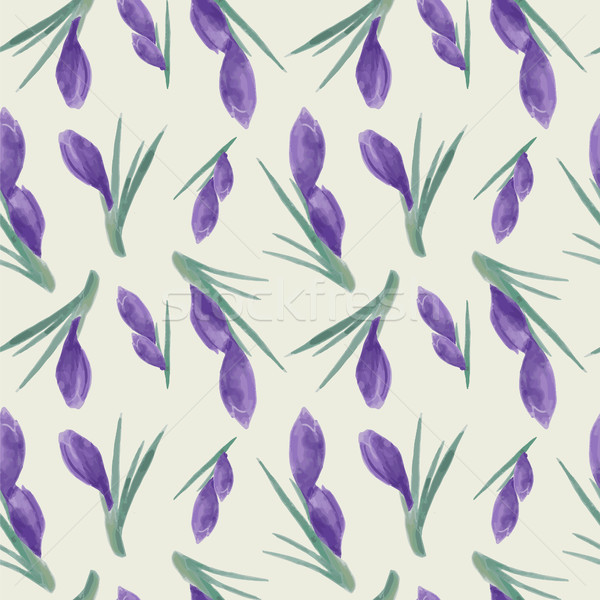 Spring watercolor violet crocuses seamless pattern in vintage st Stock photo © Margolana