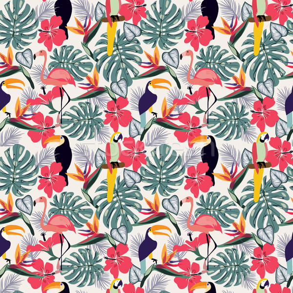 Tropical plants with toucan bird and flowers seamless decorative Stock photo © Margolana