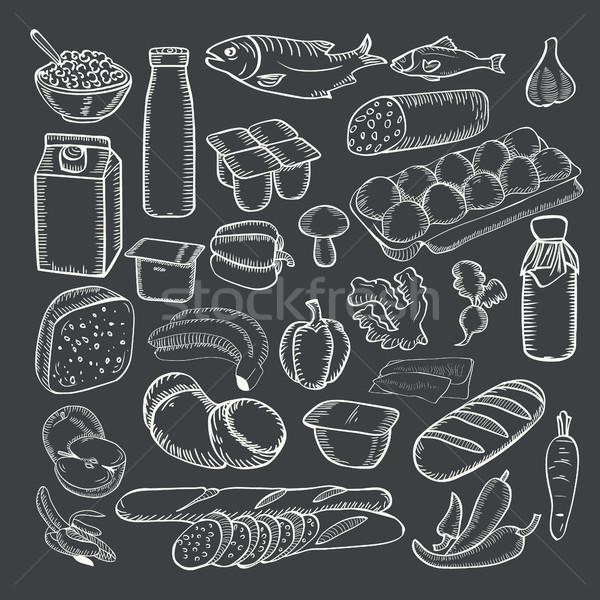продовольствие коллекция белый мелом доске Сток-фото © Margolana