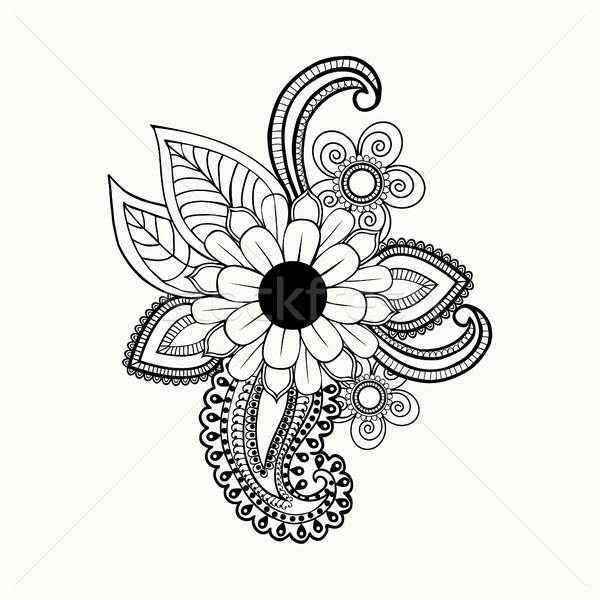 Feketefehér virágok levelek dizájn elem gyönyörű absztrakt Stock fotó © Margolana