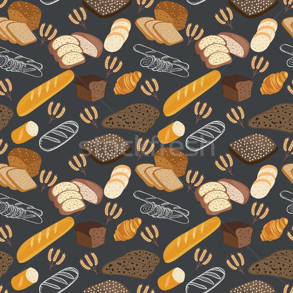 Pattern of bakery food bread, rye bread, ciabatta, wheat bread, Stock photo © Margolana