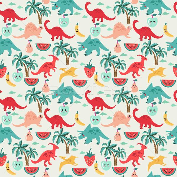 Stock fotó: Aranyos · dinoszauruszok · gyümölcsök · vektor · görögdinnye · alma