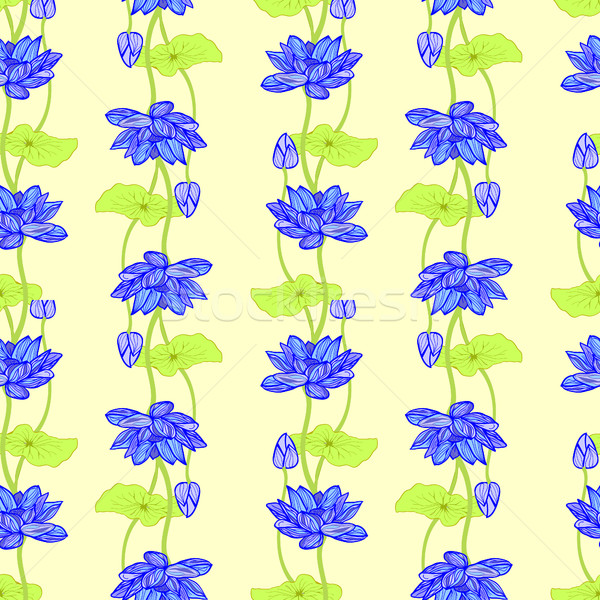 Hand drawn background of Beautiful lotus flowers and leaves. Stock photo © Margolana