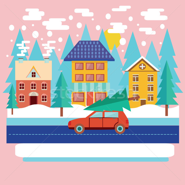 Inverno città panorama stile moderno allegro Natale Foto d'archivio © Margolana