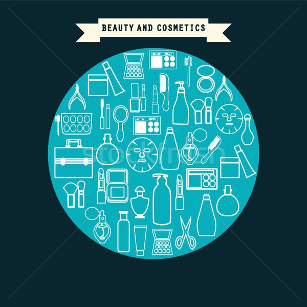 Szépség kozmetika termék szett ikonok skicc Stock fotó © Margolana