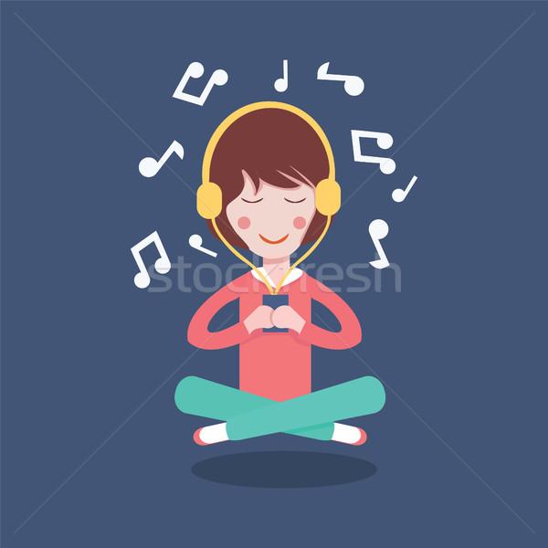 Mutlu kız kulaklık karikatür güzel kadın müzik Stok fotoğraf © Margolana