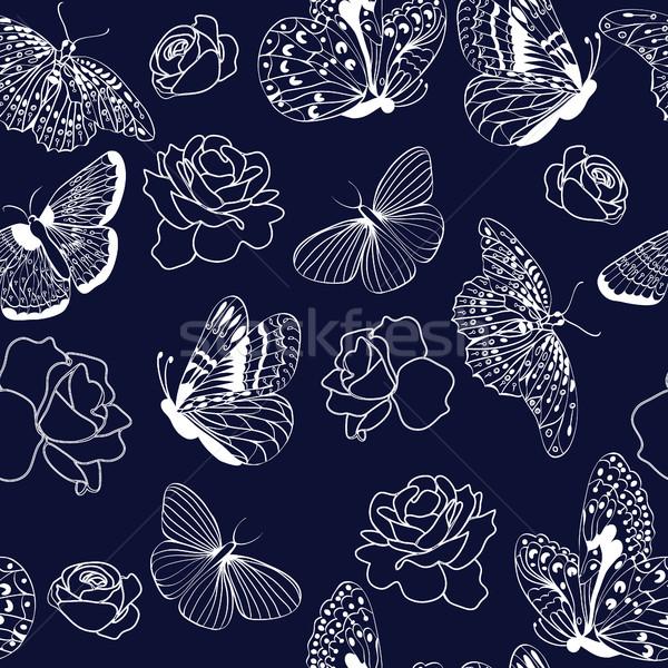 Model kelebekler güller karanlık mavi vektör Stok fotoğraf © Margolana