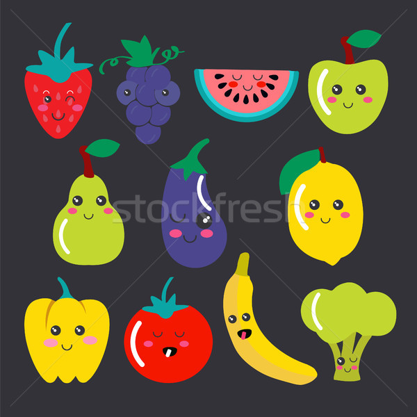 Cute kawaii frutas vegetales iconos vector Foto stock © Margolana
