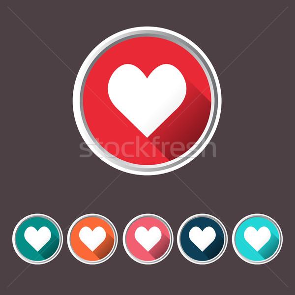 Kalp sevmek ikon uzun gölge ayarlamak Stok fotoğraf © Margolana
