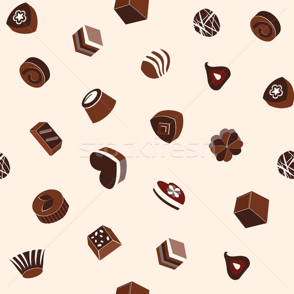 pattern of assortment of chocolates and cookie Stock photo © Margolana