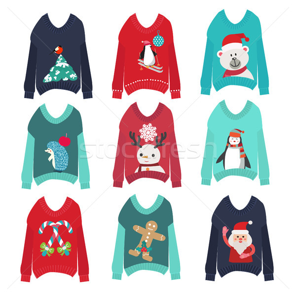 cute ugly christmas sweaters set sweater party collection Stock photo © Margolana