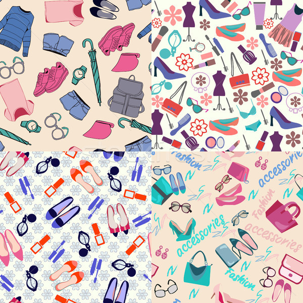 vector  pattern set of fashion woman clothes, accessories and b Stock photo © Margolana