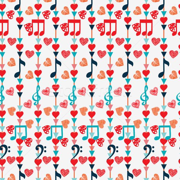 Aranyos végtelen minta hangjegyek szívek fehér zene Stock fotó © Margolana
