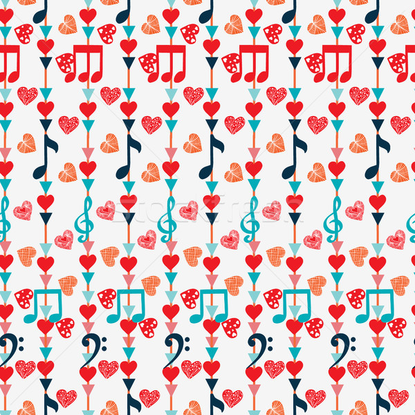 Cute notas musicales corazones blanco música Foto stock © Margolana