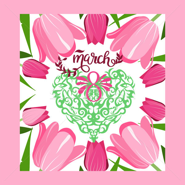 Floral frame with text 8 March floral vector greeting card. Stock photo © Margolana