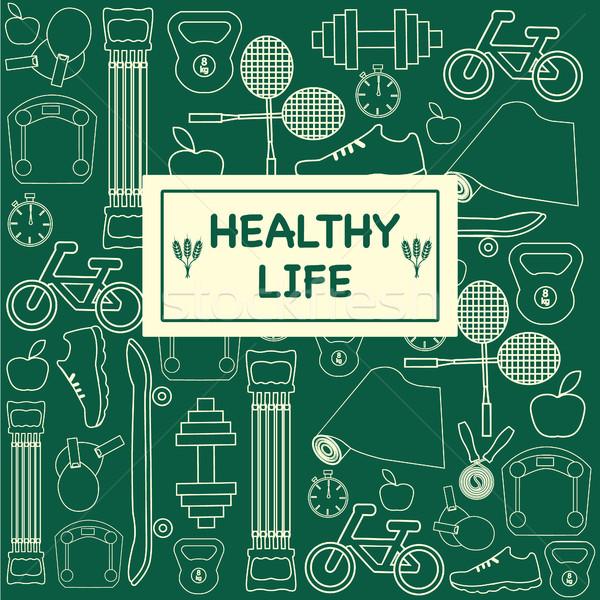 Ikonok fitnessz sport egészséges életmód szett egészséges élet Stock fotó © Margolana