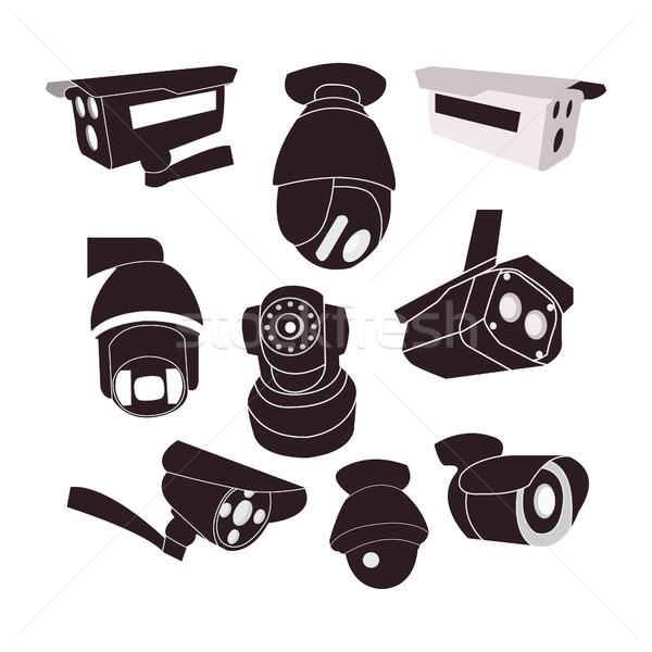 Conjunto ícone cctv câmeras vetor proteção Foto stock © Margolana