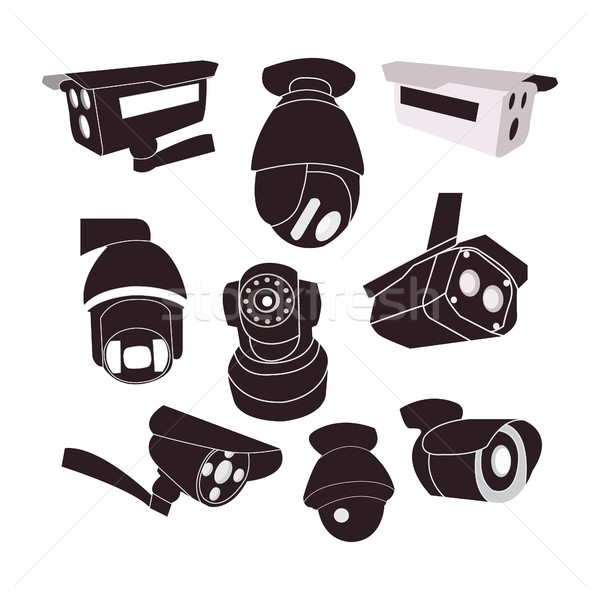 Ingesteld icon cctv camera vector bescherming Stockfoto © Margolana