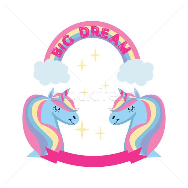 Magic unicorn and rainbow poster, greeting card background with  Stock photo © Margolana