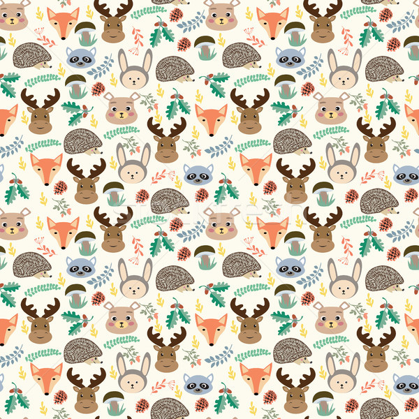 Seamless pattern with cute cartoon forest animals on beige backg Stock photo © Margolana
