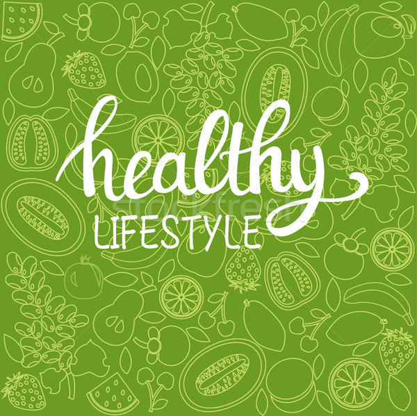 background healthy food poster or banner with hand drawn fruits  Stock photo © Margolana