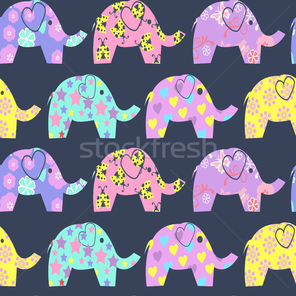 Imagine de stoc: Colorat · drăguţ · elefantii · vector