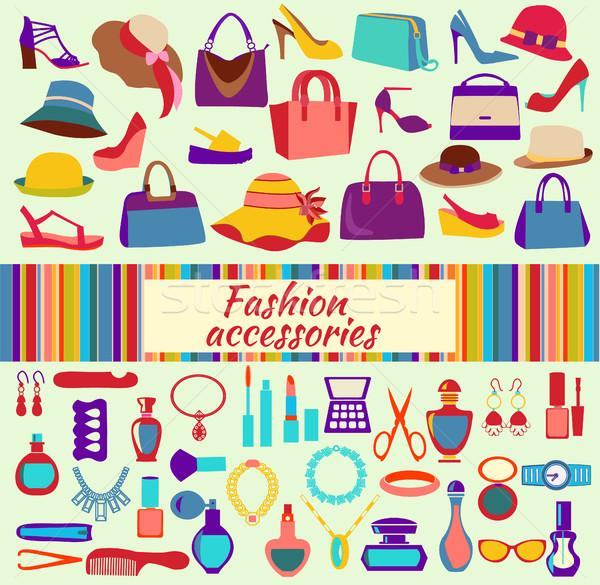 моде торговых женщины обувь мешки красоту Сток-фото © Margolana