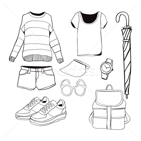 ストックフォト: ベクトル · 手描き · ファッション · 服 · セット