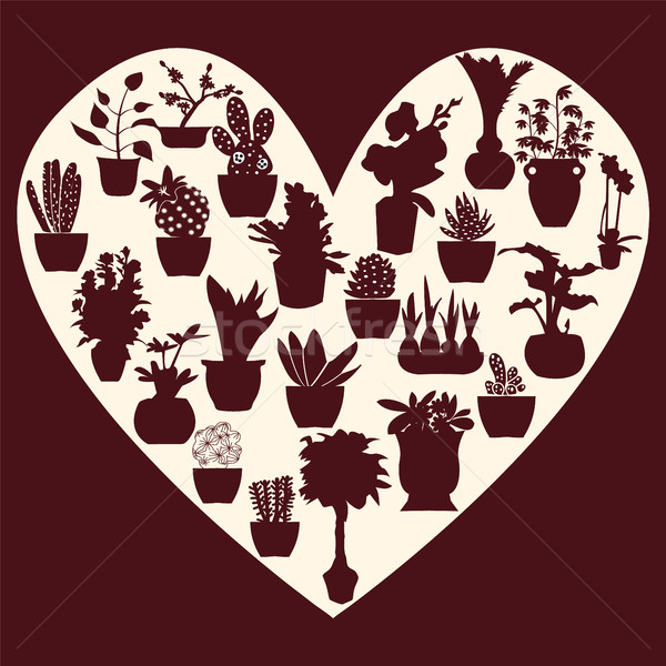 Szett gyűjtemény vektor dekoratív cserepes növény sziluett Stock fotó © Margolana