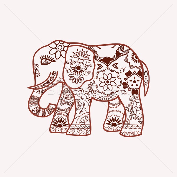 Henna mehndi tattoo doodle with decorated Indian Elephant.  Stock photo © Margolana