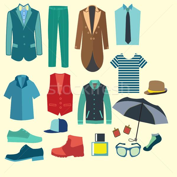 Ingesteld mannen kleding iconen illustratie Stockfoto © Margolana