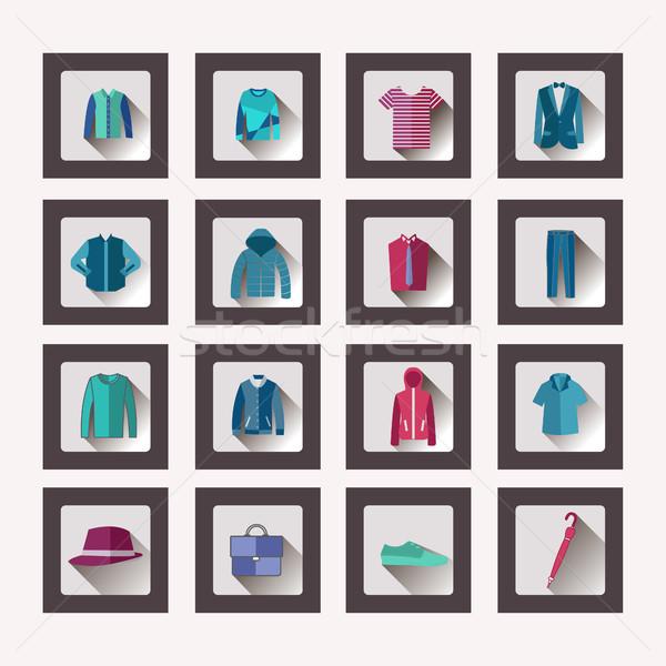 набор мужчин одежды иконки вектора Сток-фото © Margolana