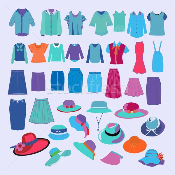 Stock fotó: Gyűjtemény · divat · ruha · kellékek · szett · különböző