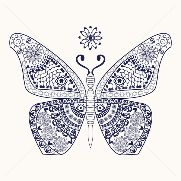 Vector butterfly for coloring page.  Stock photo © Margolana
