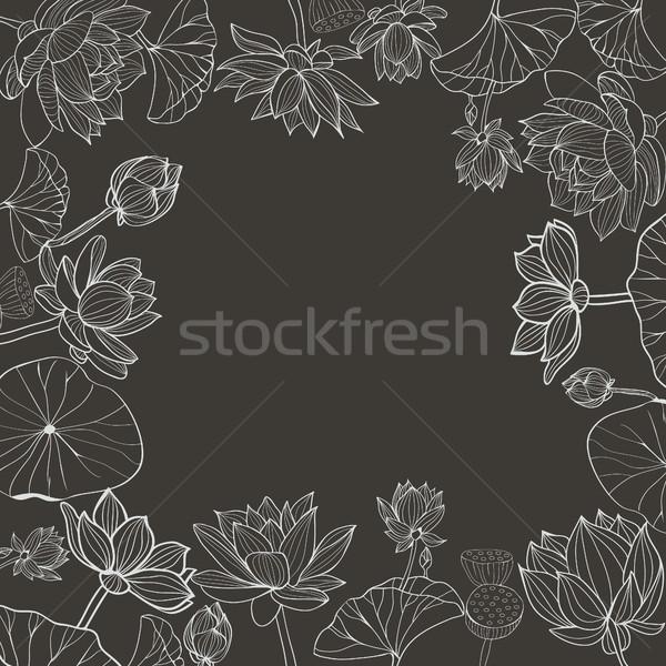 Vetor floral quadro preto e branco flores Foto stock © Margolana