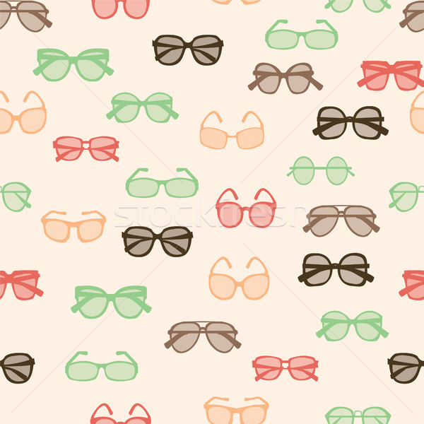 pattern with colorful fashion retro glasses Stock photo © Margolana