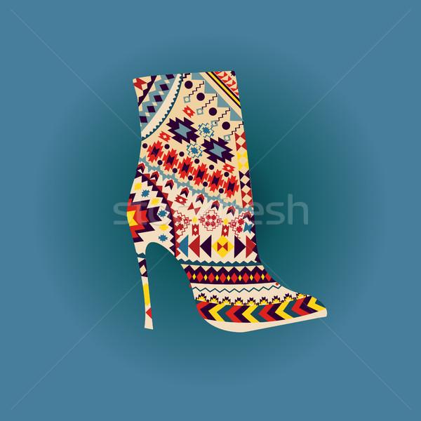 Mode mooie boot vector vrouw Stockfoto © Margolana