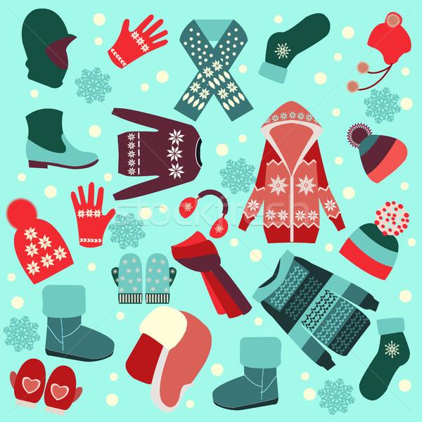 Sammlung Winter Kleidung Zubehör Vektor unterschiedlich Stock foto © Margolana
