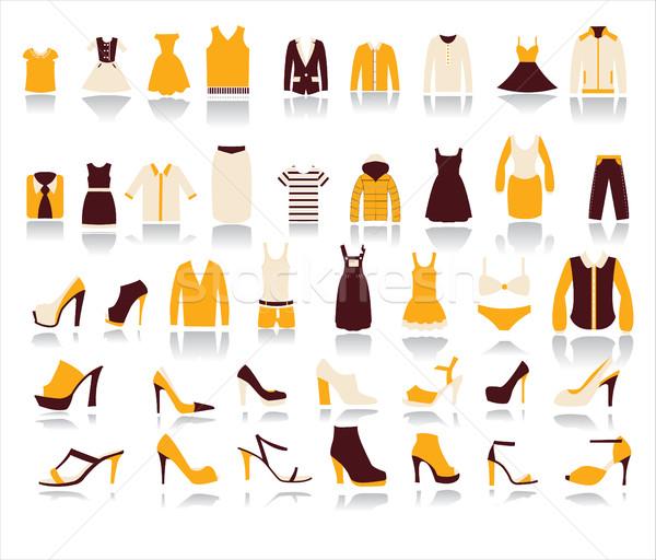 女性 服 アイコン 白 セット 40 ストックフォト © Margolana