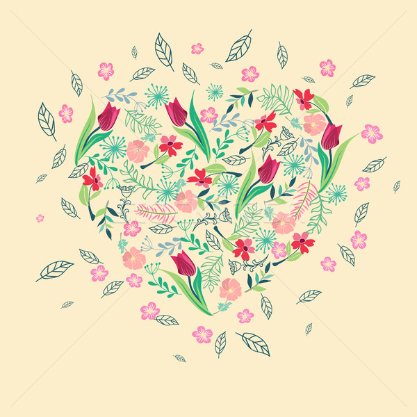 Stock photo: Heart shape frame floral background.
