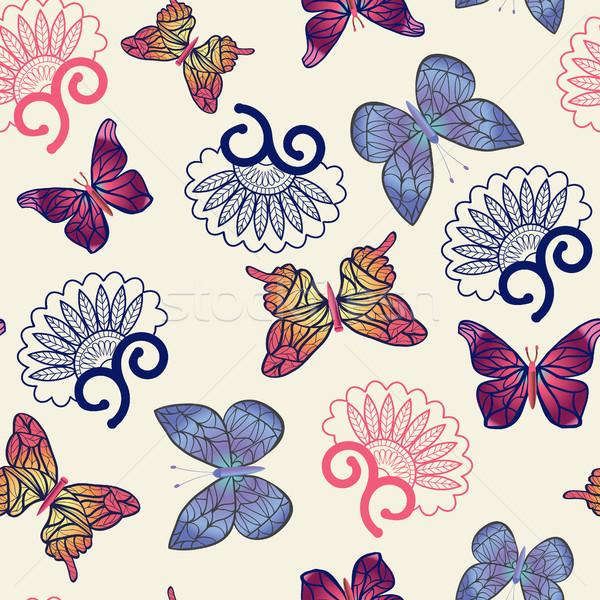Vettore farfalle pattern battenti fiore Foto d'archivio © Margolana