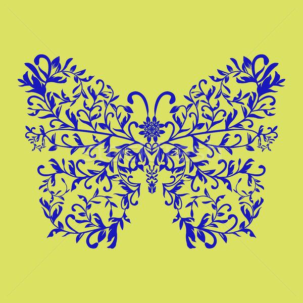 Elegante decorativo mariposa floral ornamento aislado Foto stock © Margolana