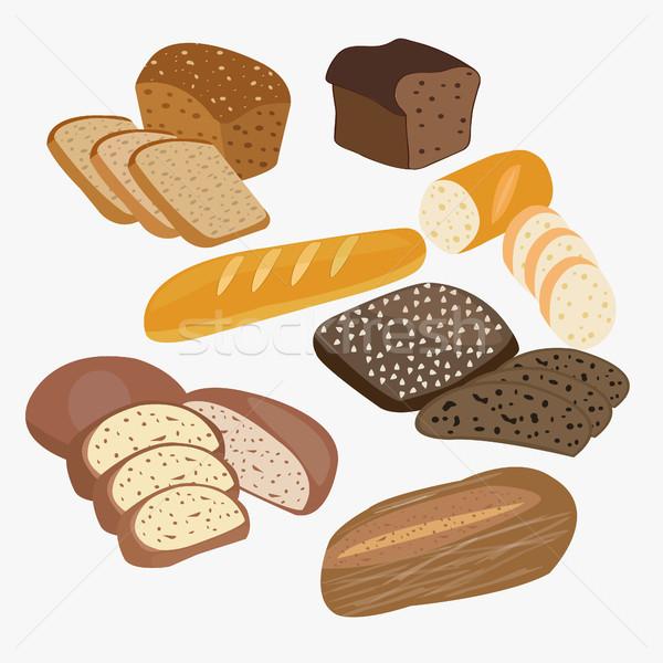 набор Cartoon продовольствие хлеб рожь пшеницы Сток-фото © Margolana